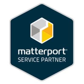 Matterport service provider logo in dark blue